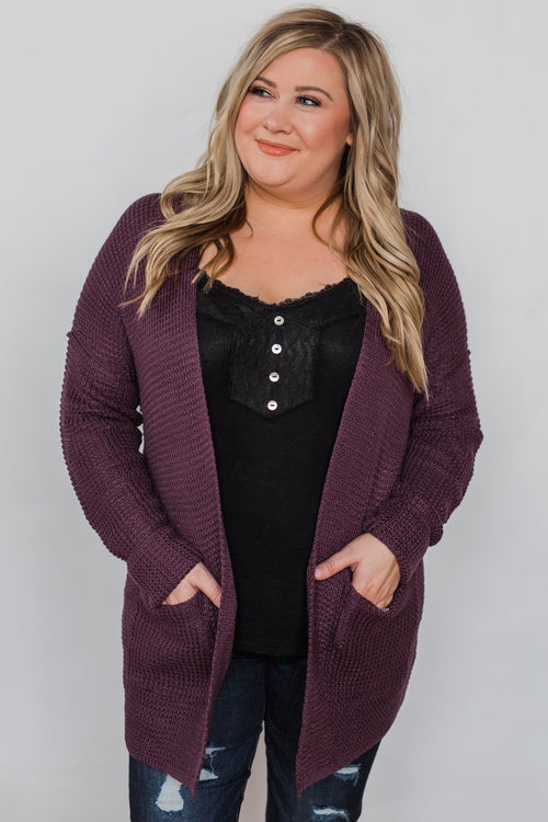 Caught Up In You V-Back Cardigan - Plum
