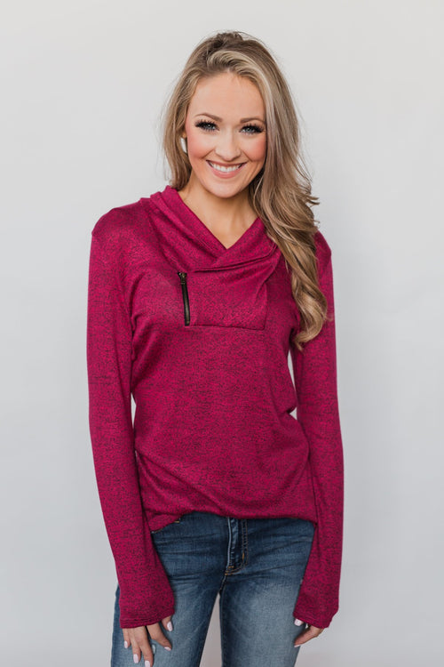 All This Time Zipper Pullover Top- Fuchsia