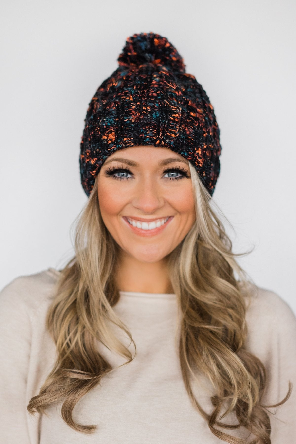 Black Speckled Pom Beanie