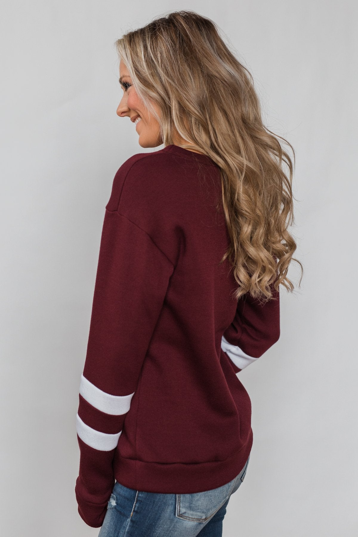 Just As Soft Varsity Stripe Crewneck- Burgundy