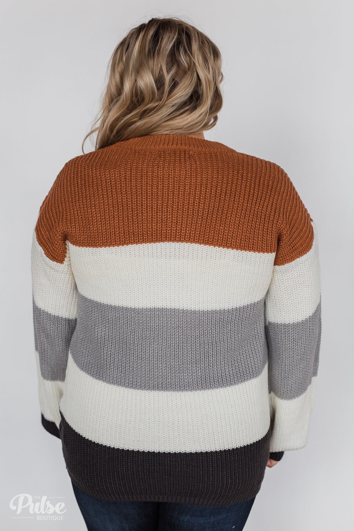 Color Block Chunky Sleeve Knitted Sweater- Orange, Ivory, Grey