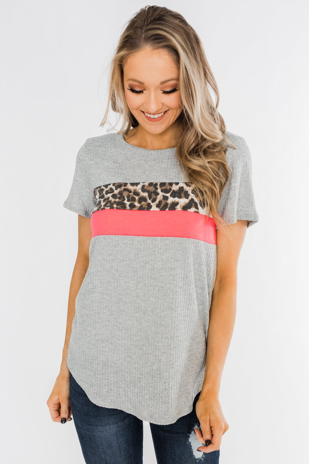 Up For An Adventure Striped Top- Heather Grey