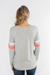 Casual Cutie V-Neck Top- Grey & Coral