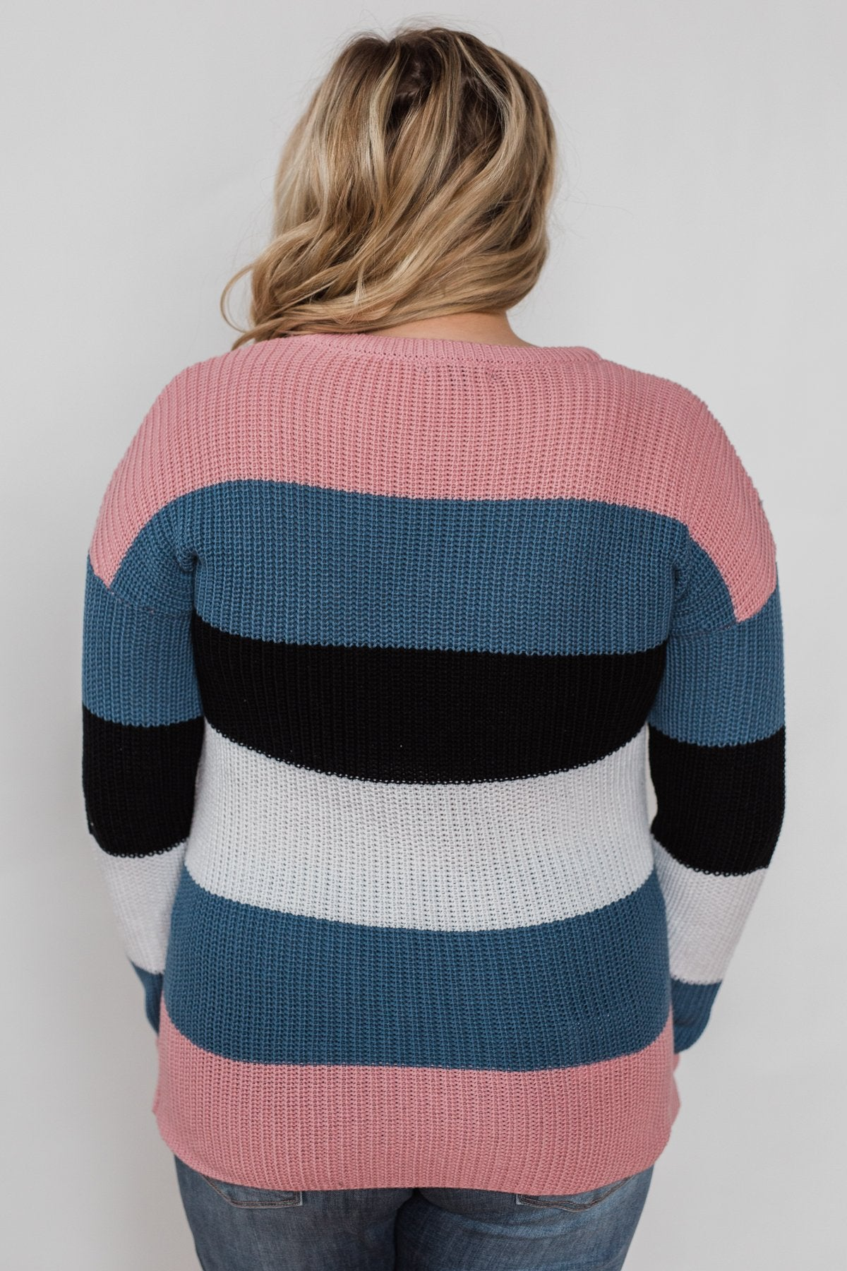 The Way to You Knitted Sweater - Rose, Teal, & Black