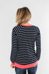 On Top Of The World Striped Top- Navy & Neon Pink