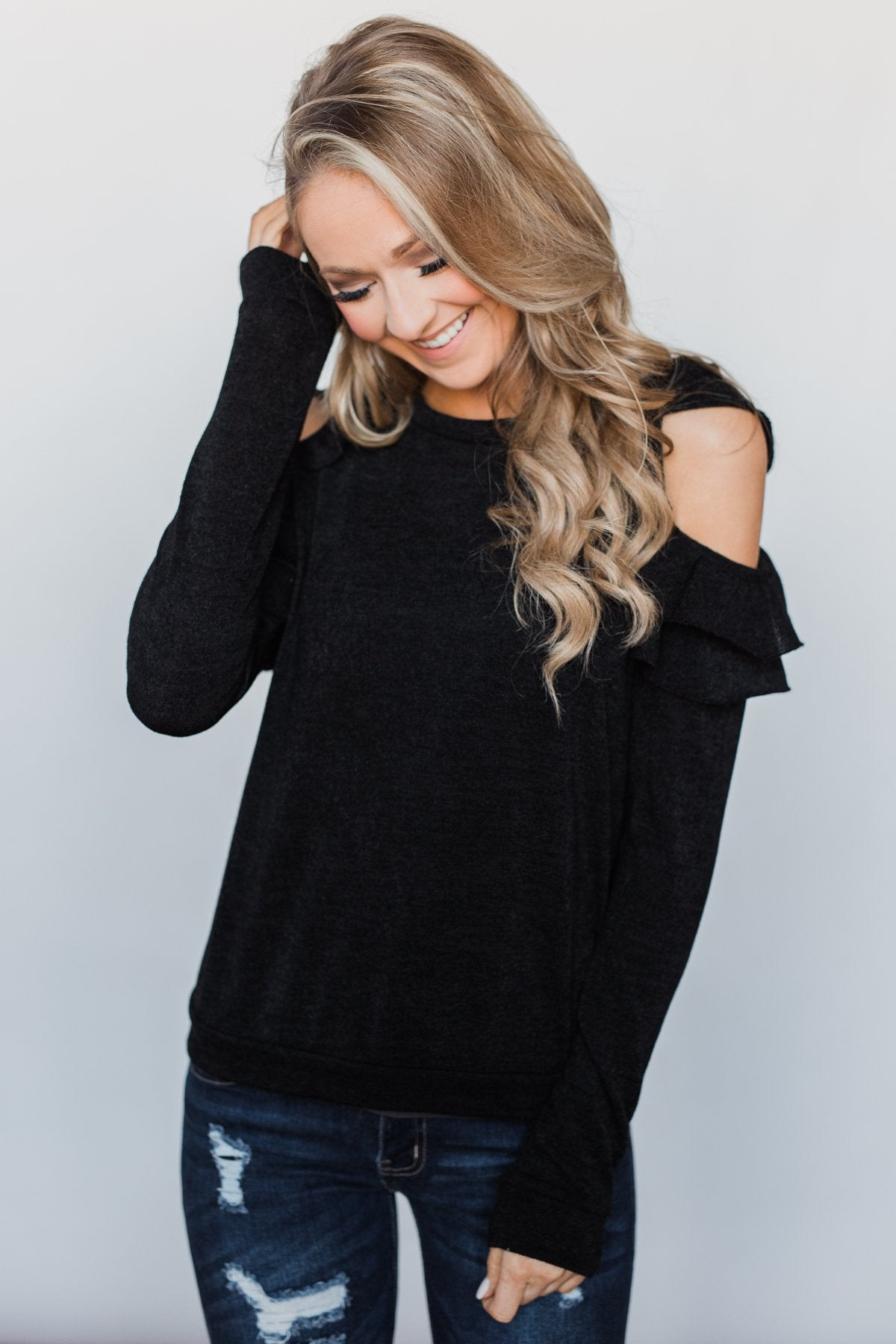 A New Hello Ruffle Cold Shoulder Top- Black
