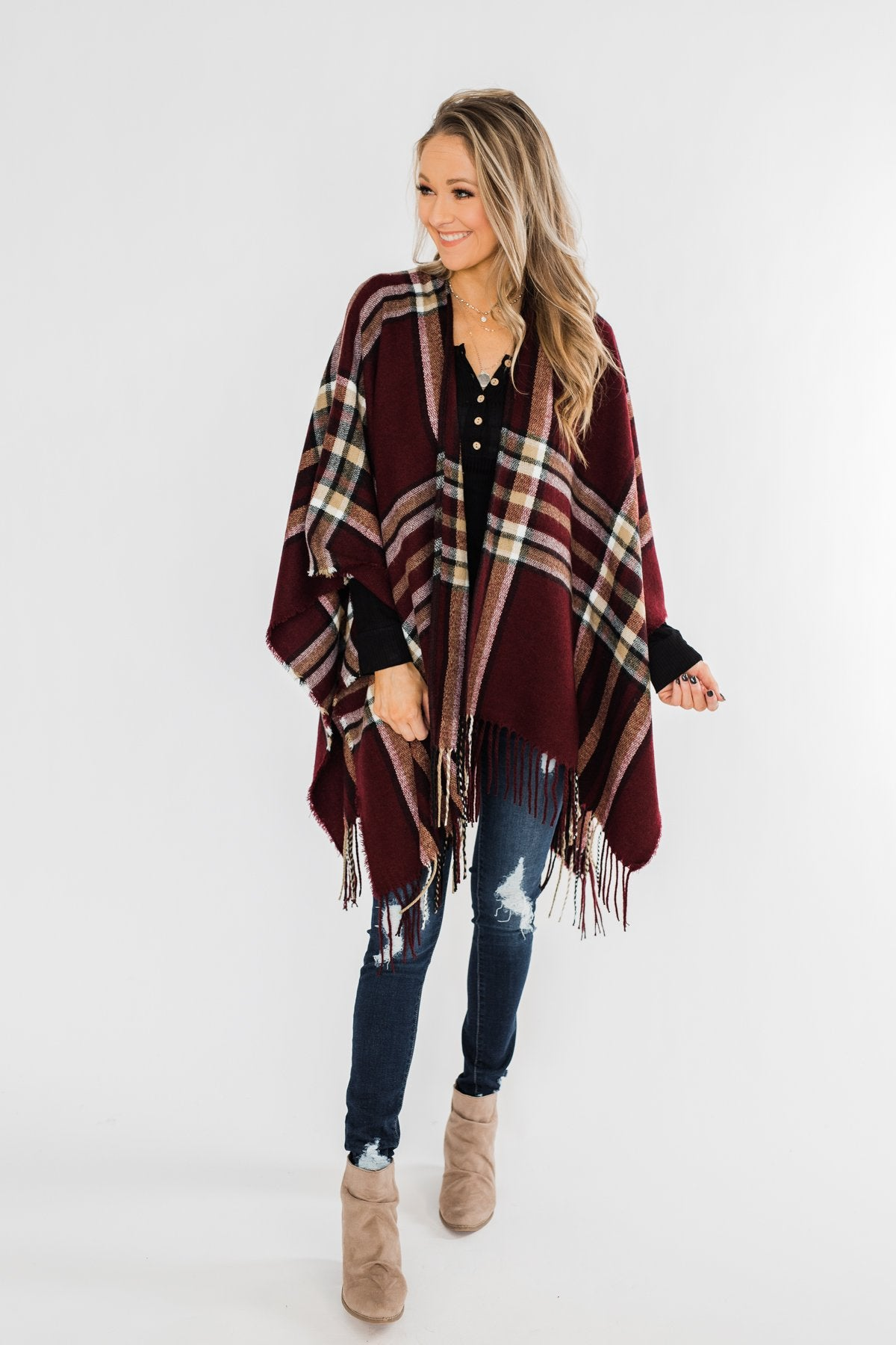 Perfect Plaid Shawl- Burgundy, Tan, & Ivory