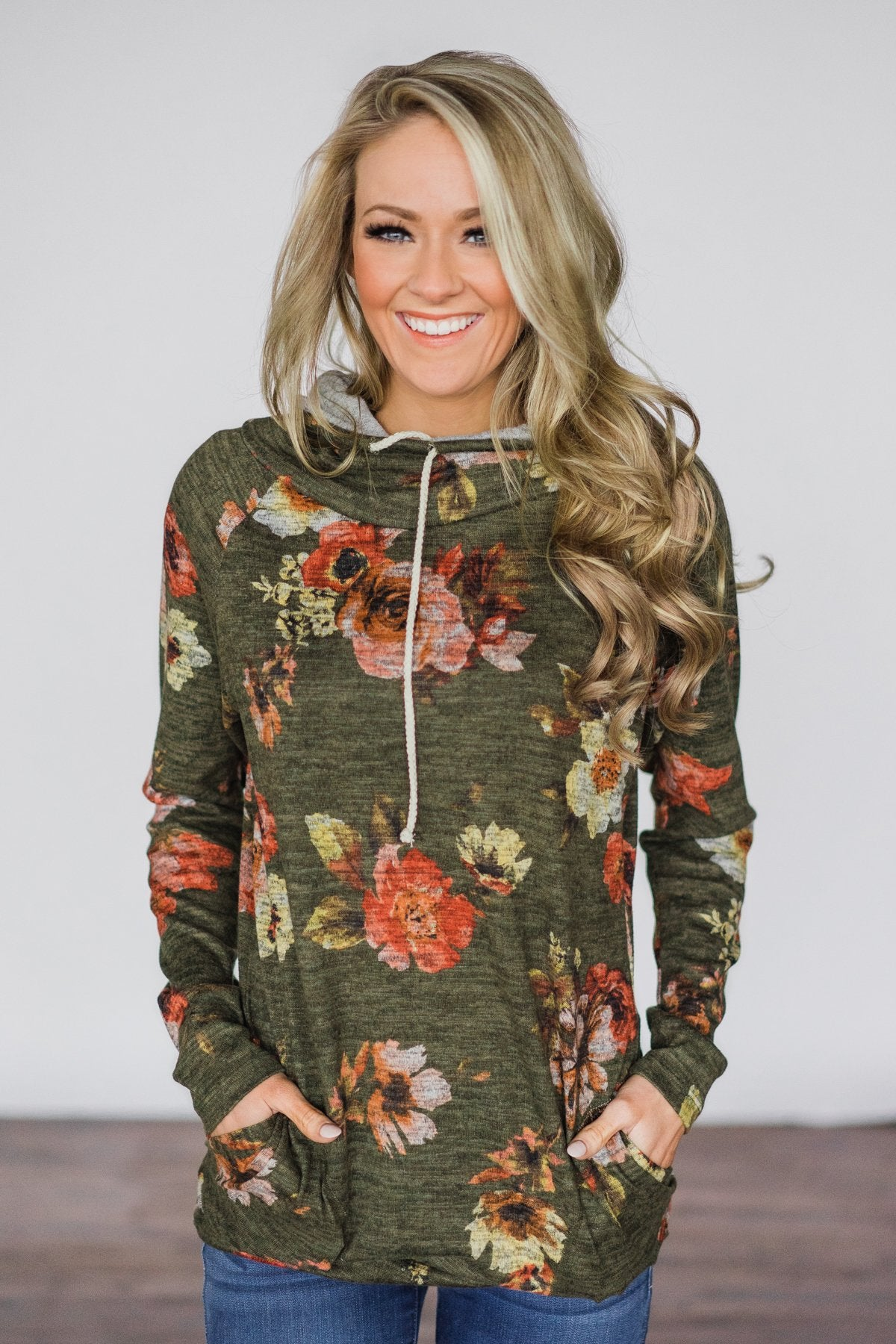 Floral Cowl Neck Tunic Top ~ Olive