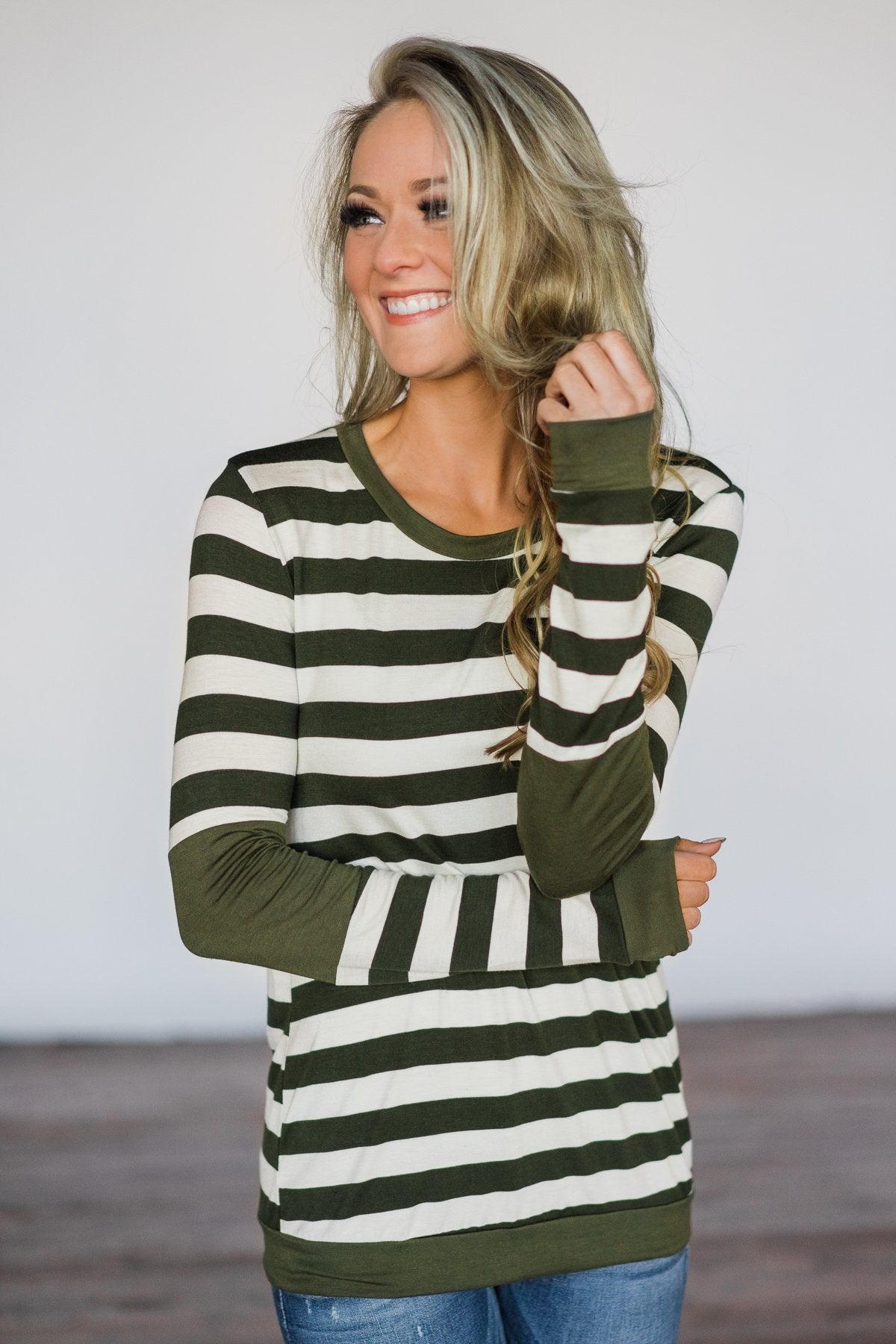 Dreams of Romance Olive Striped Top