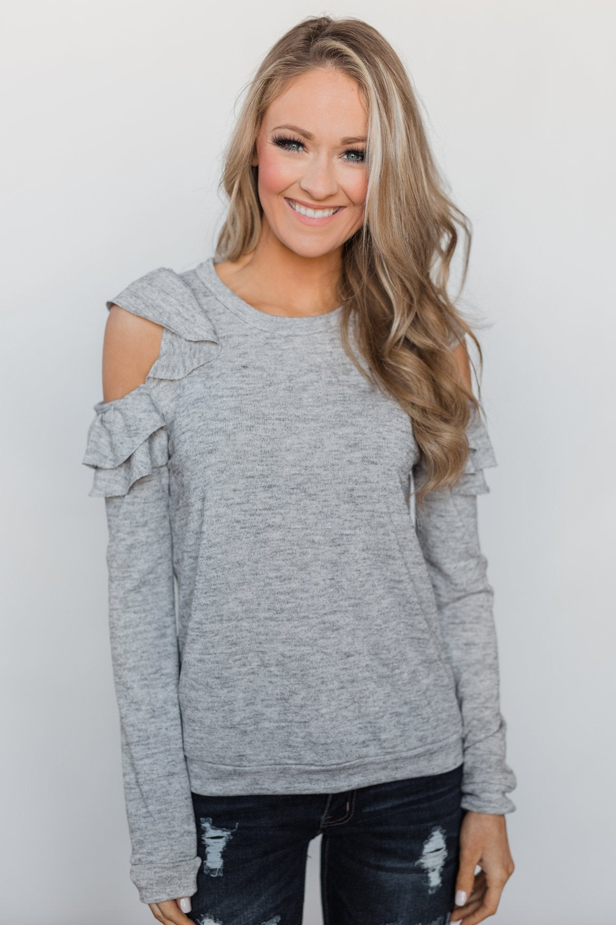 A New Hello Ruffle Cold Shoulder Top- Heather Grey