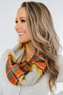 Plaid Infinity Scarf- Orange, Yellow, Blue, & Cream