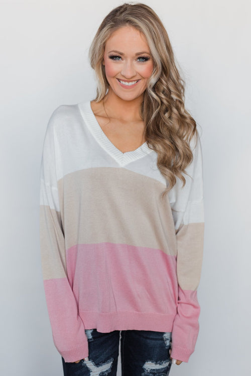 How Sweet It Is V-Neck Sweater - Neapolitan
