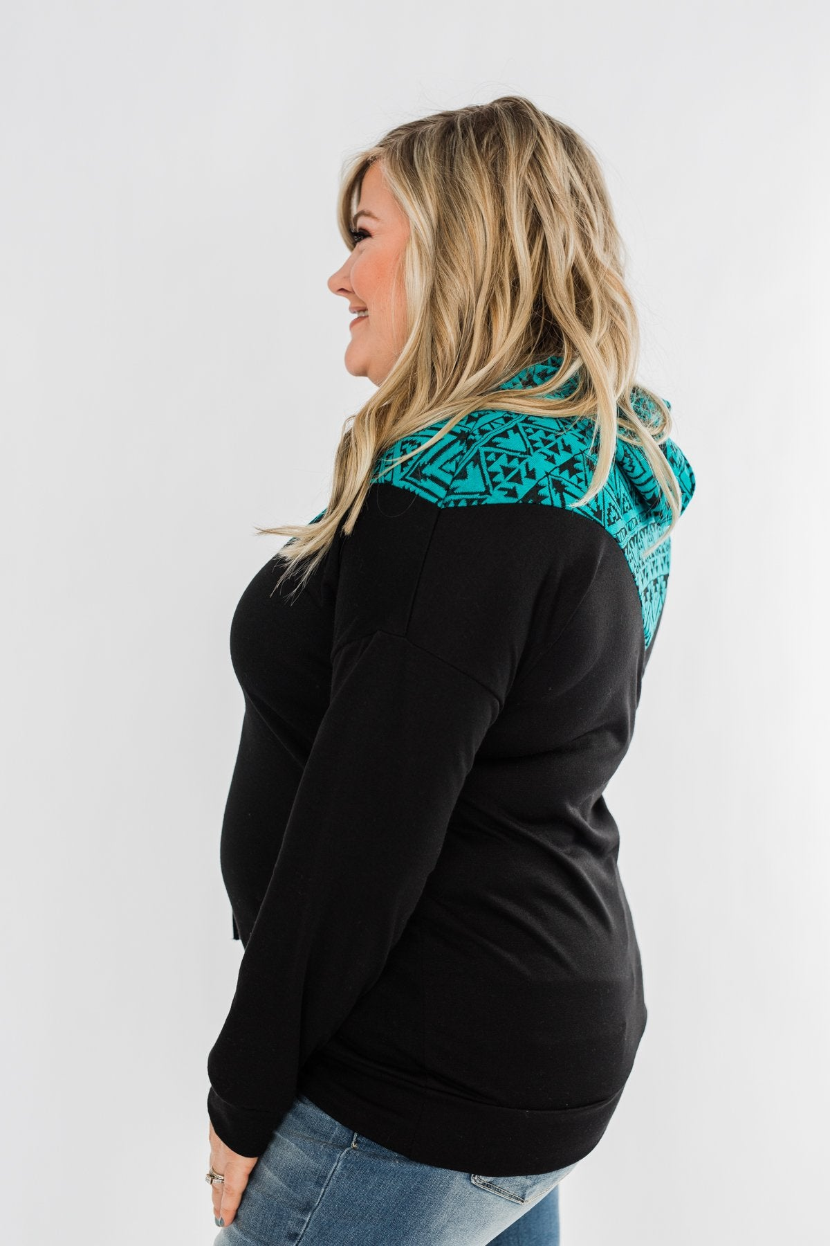 Nice To Meet You Aztec Hoodie- Black & Turquoise