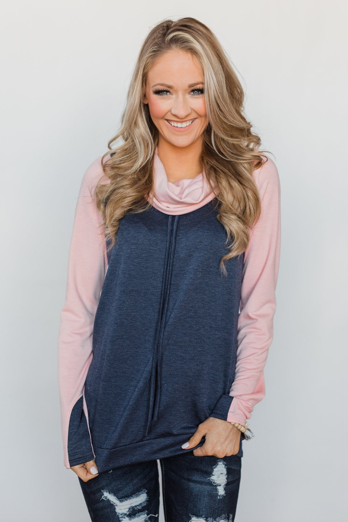 The Ultimate Navy & Blush Cowl Neck Top