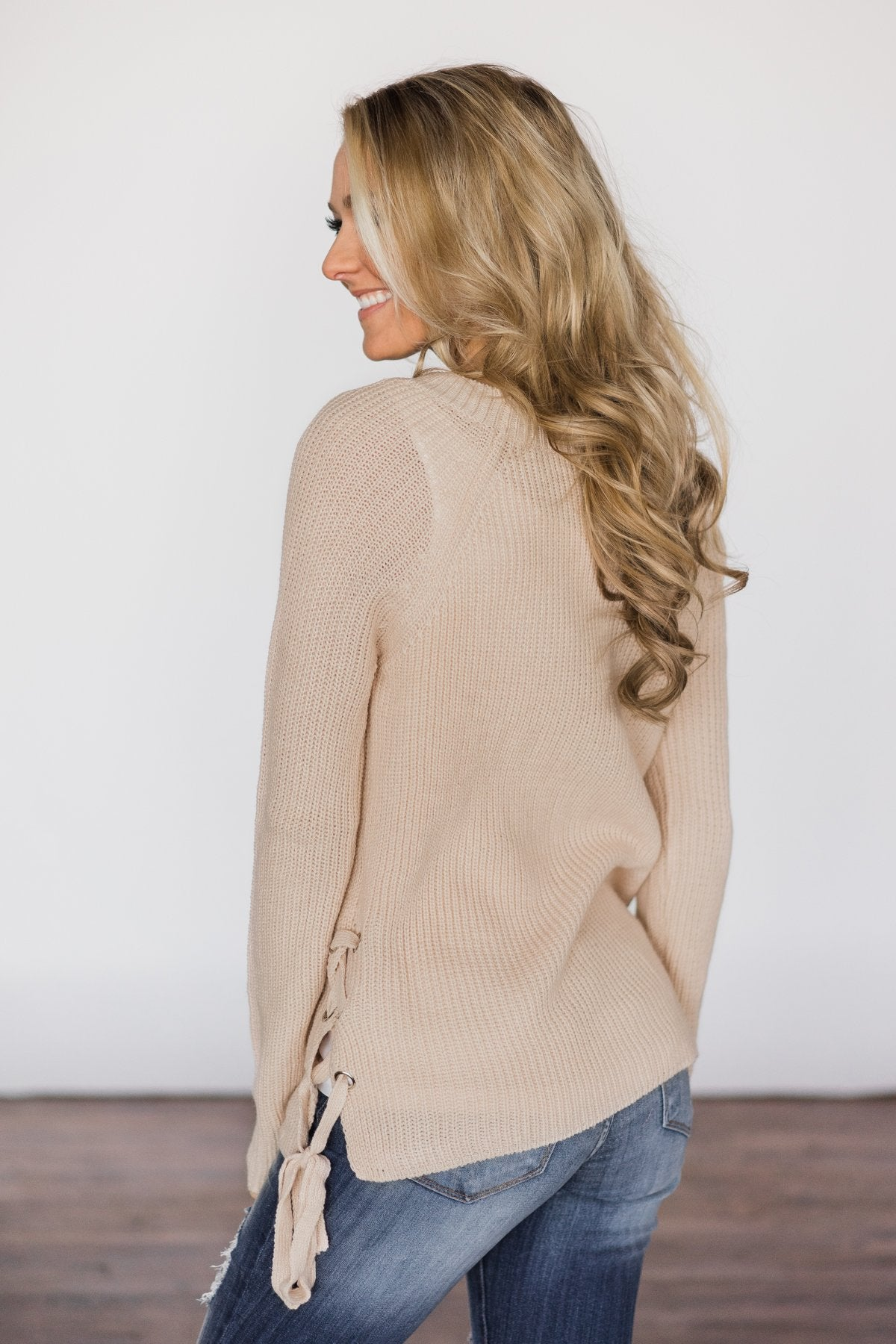 Cream Side Lace Up Top