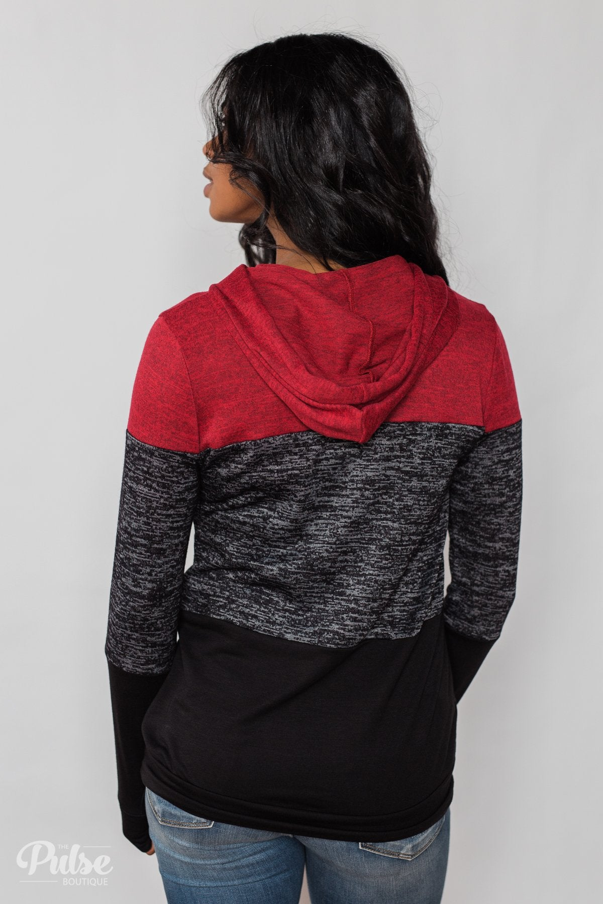 Come Together Color Block Hoodie - Red & Black
