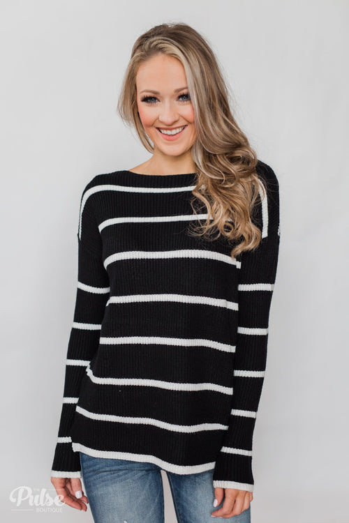 Side by Side Striped Knit Sweater- Black & White