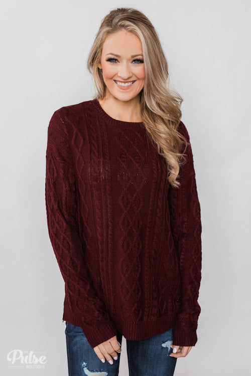 You Belong to Me Knit Sweater- Deep Burgundy
