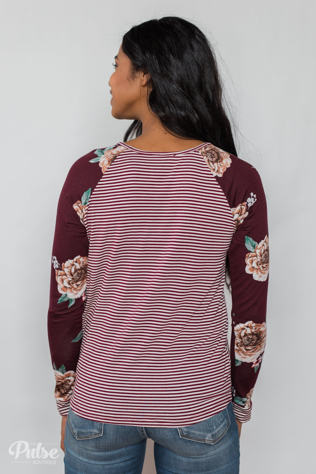 Look to You Floral & Striped Knot Top- Burgundy
