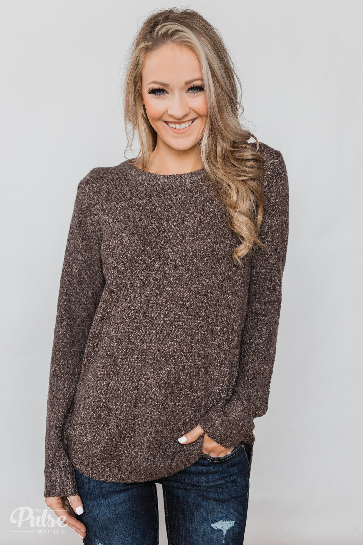 Wherever You Go Knit Sweater- Brown