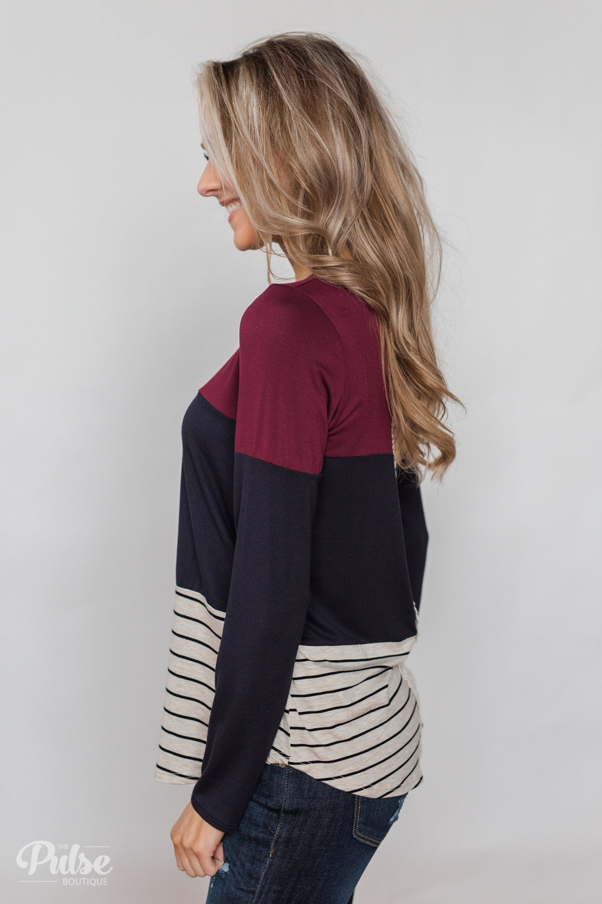 Party in the Back Lace Detail Top- Maroon & Navy