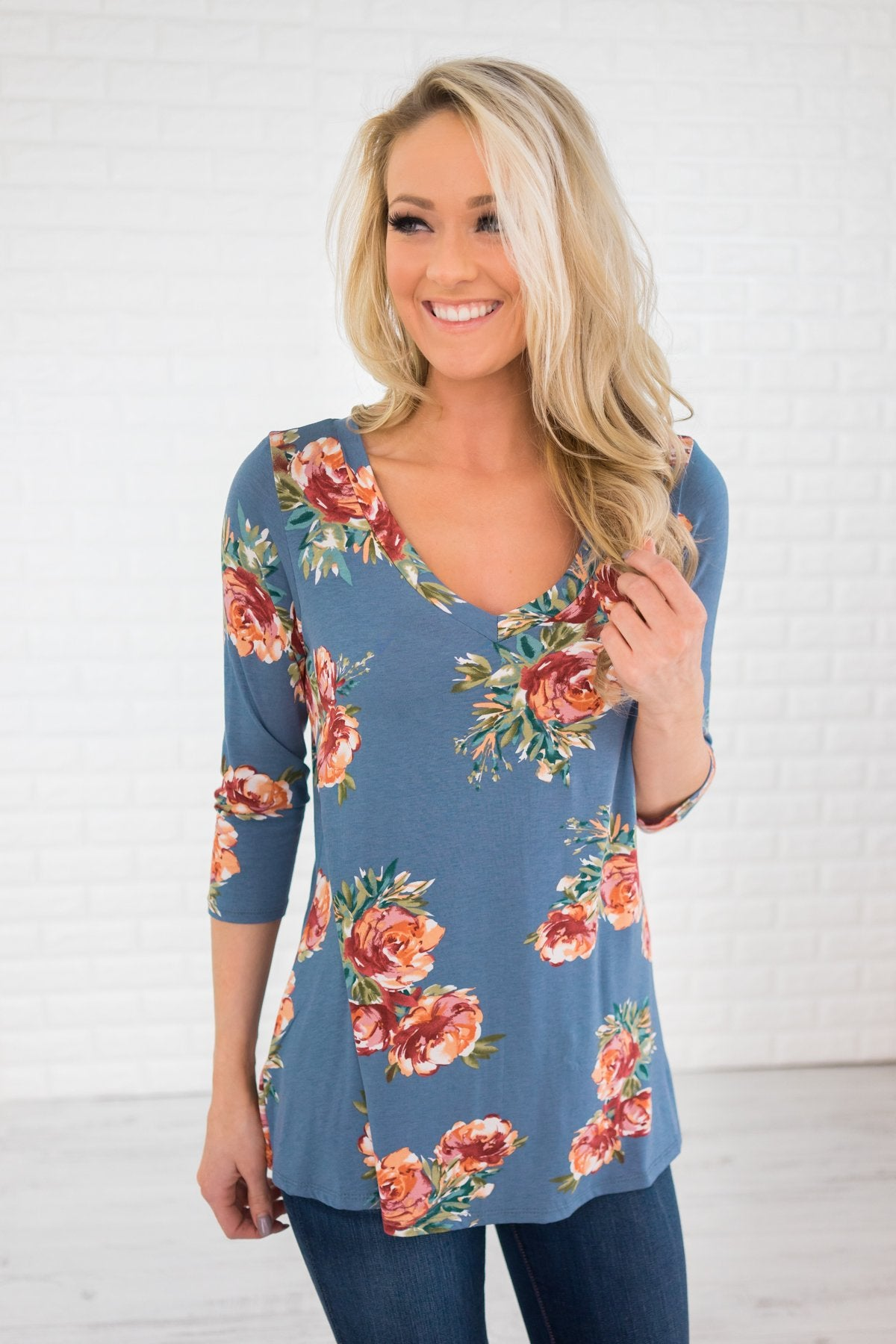 Light Blue 3/4 Sleeve Floral Top