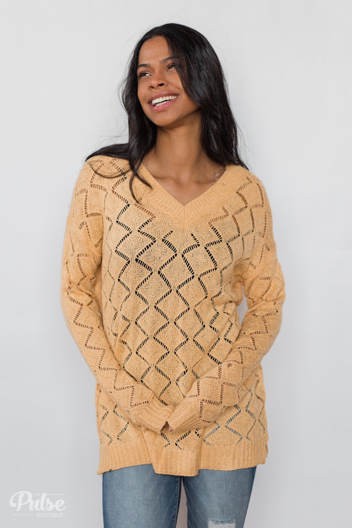 V-Neck Pointelle Knit Pullover - Mustard