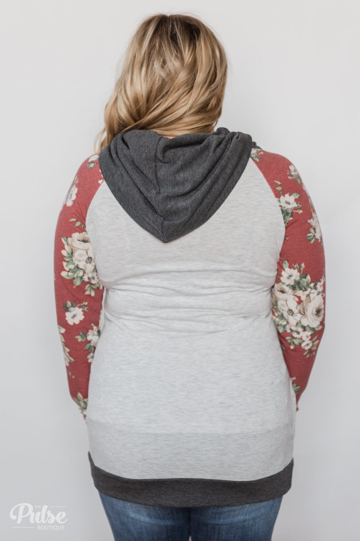 Smile Pretty Floral Drawstring Hoodie- Heather Grey