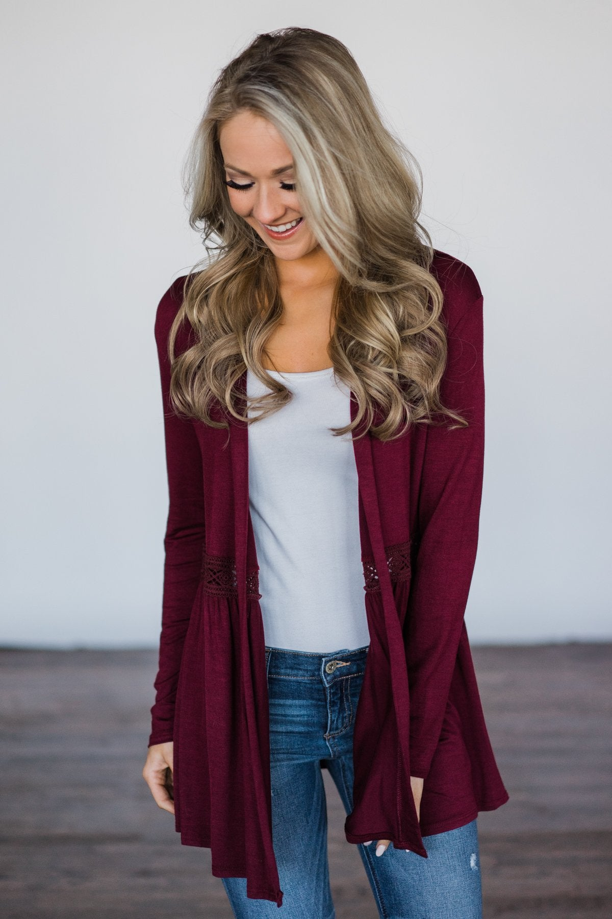Till We Meet Again Burgundy Cardigan