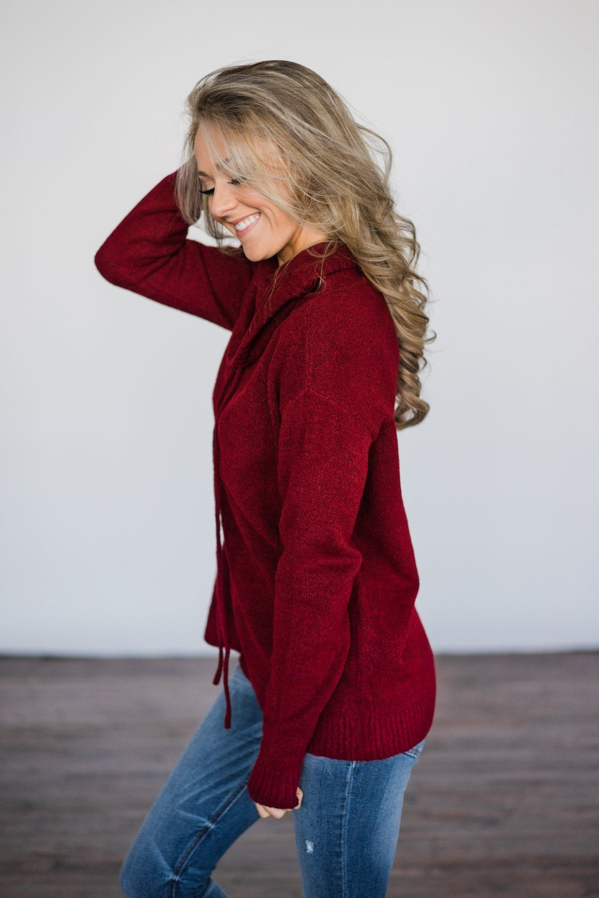 Cozy Burgundy Turtleneck Top