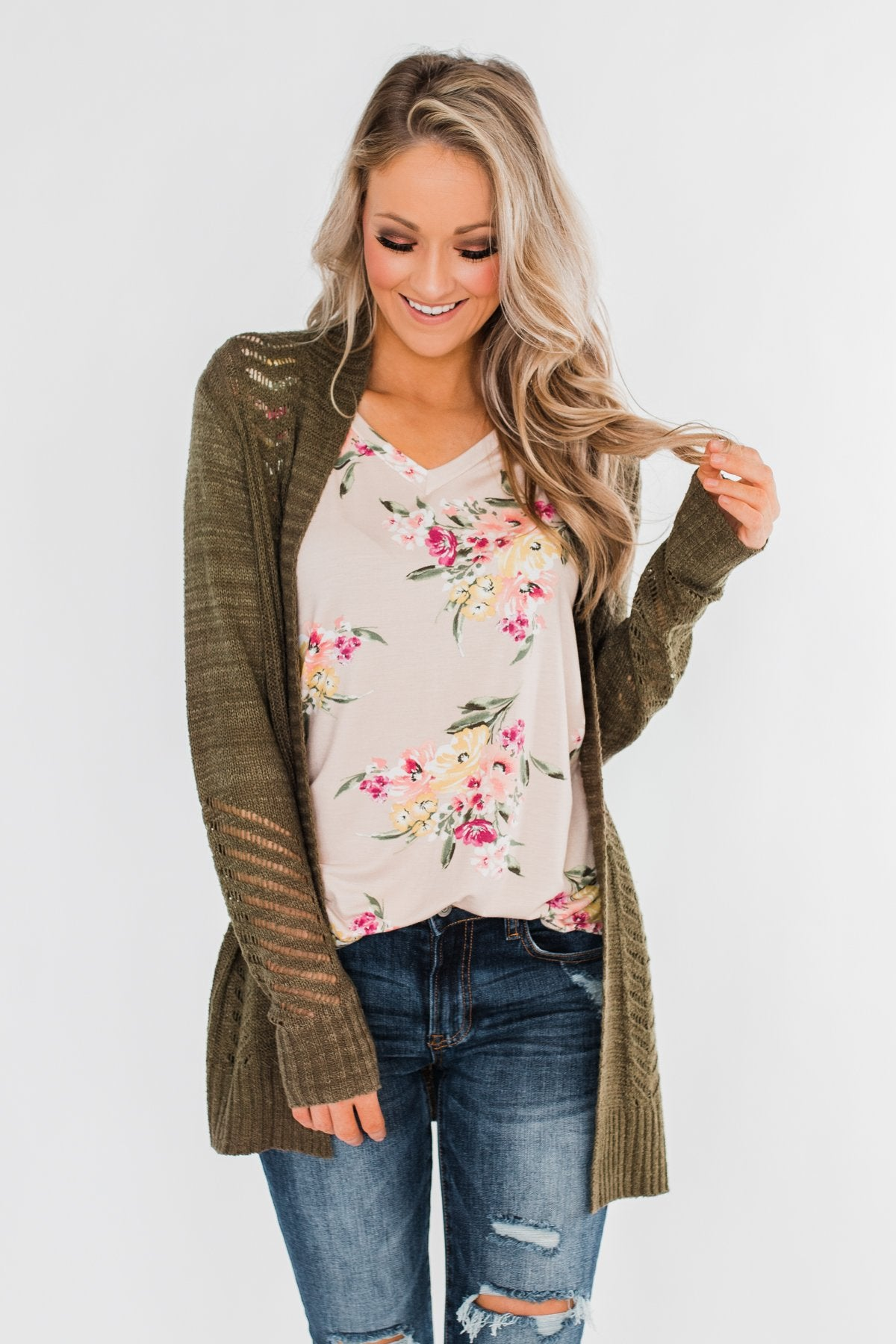 Falling For Floral V-Neck Top- Light Peach