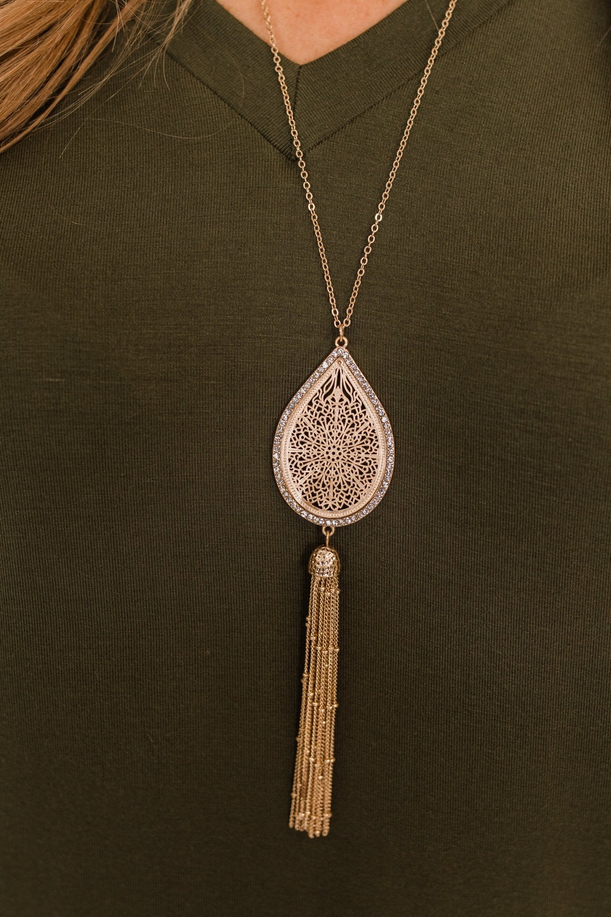 Long Detailed Pendant & Tassel Necklace- Gold