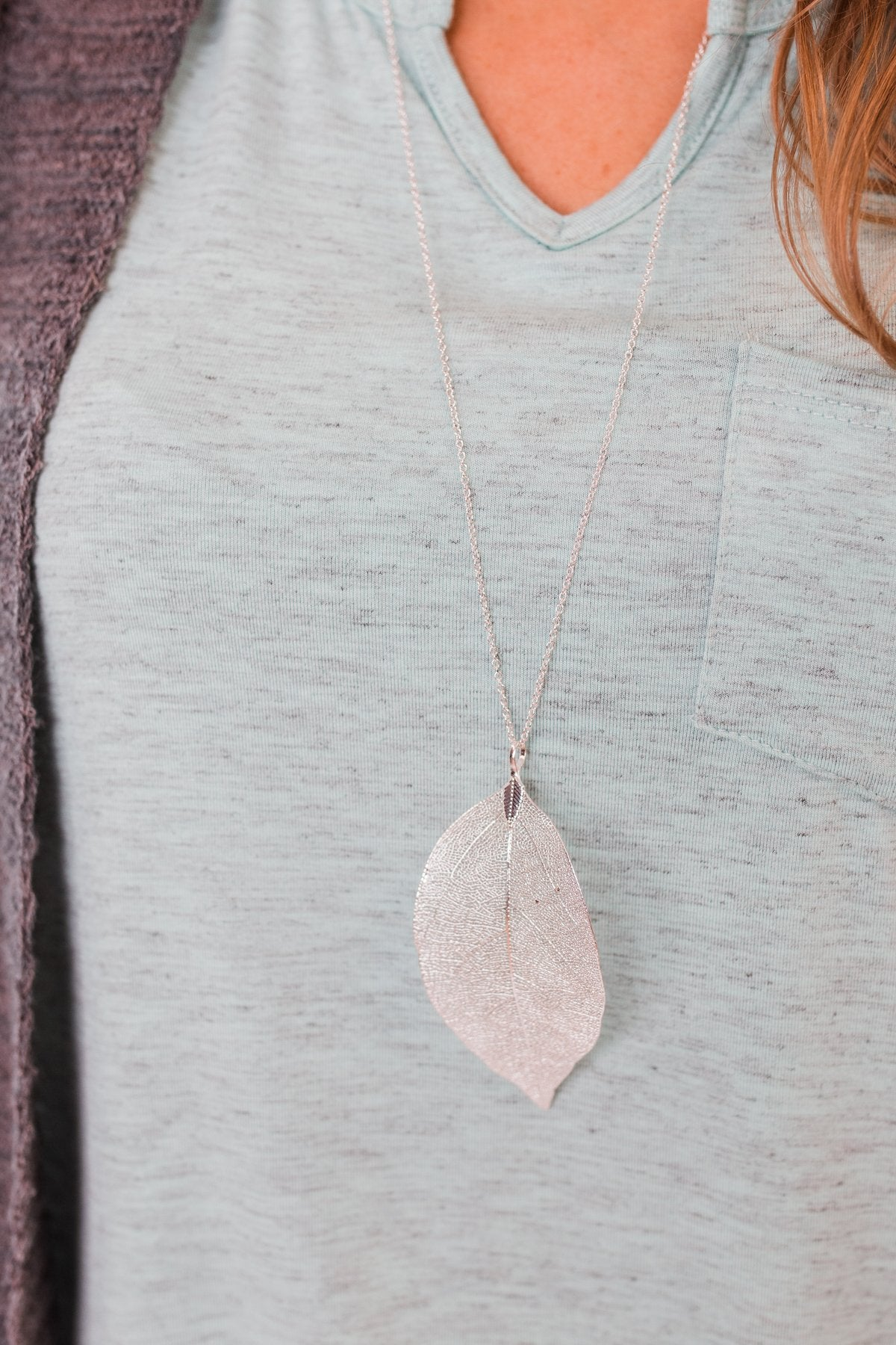 Adjustable Leaf Necklace- Silver