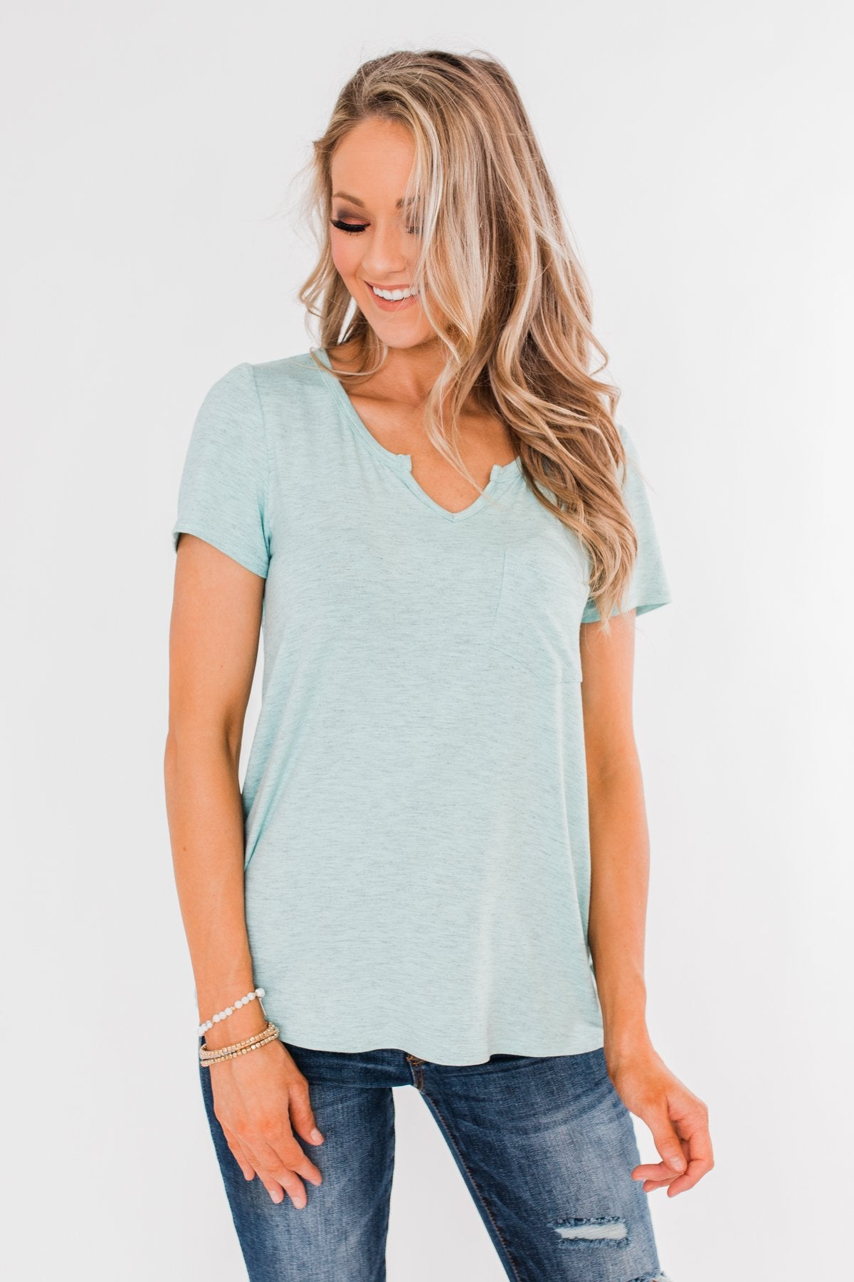 This is Me Notch Pocket Top- Heather Blue