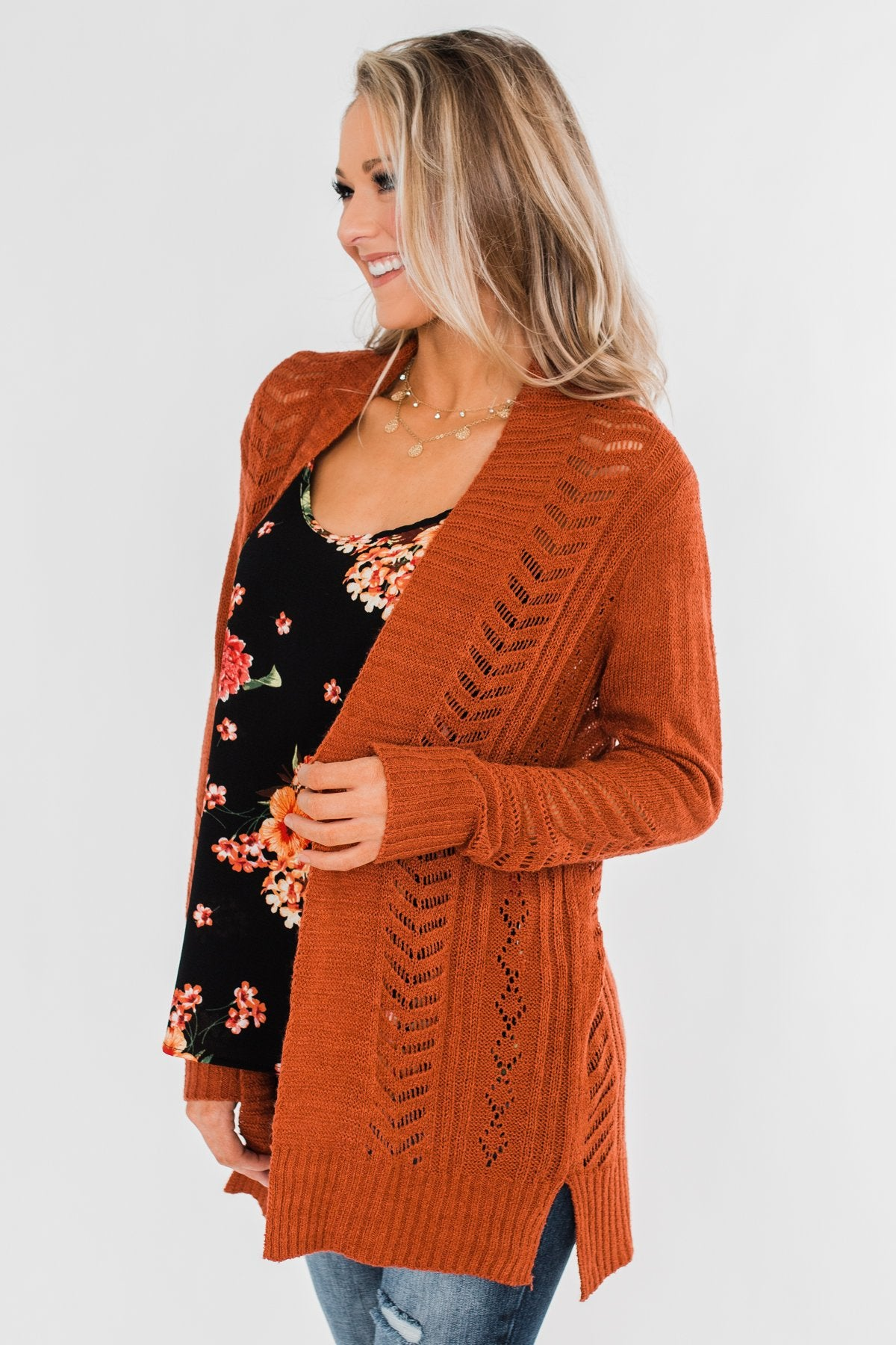 Open Front Pointelle Cardigan- Rust