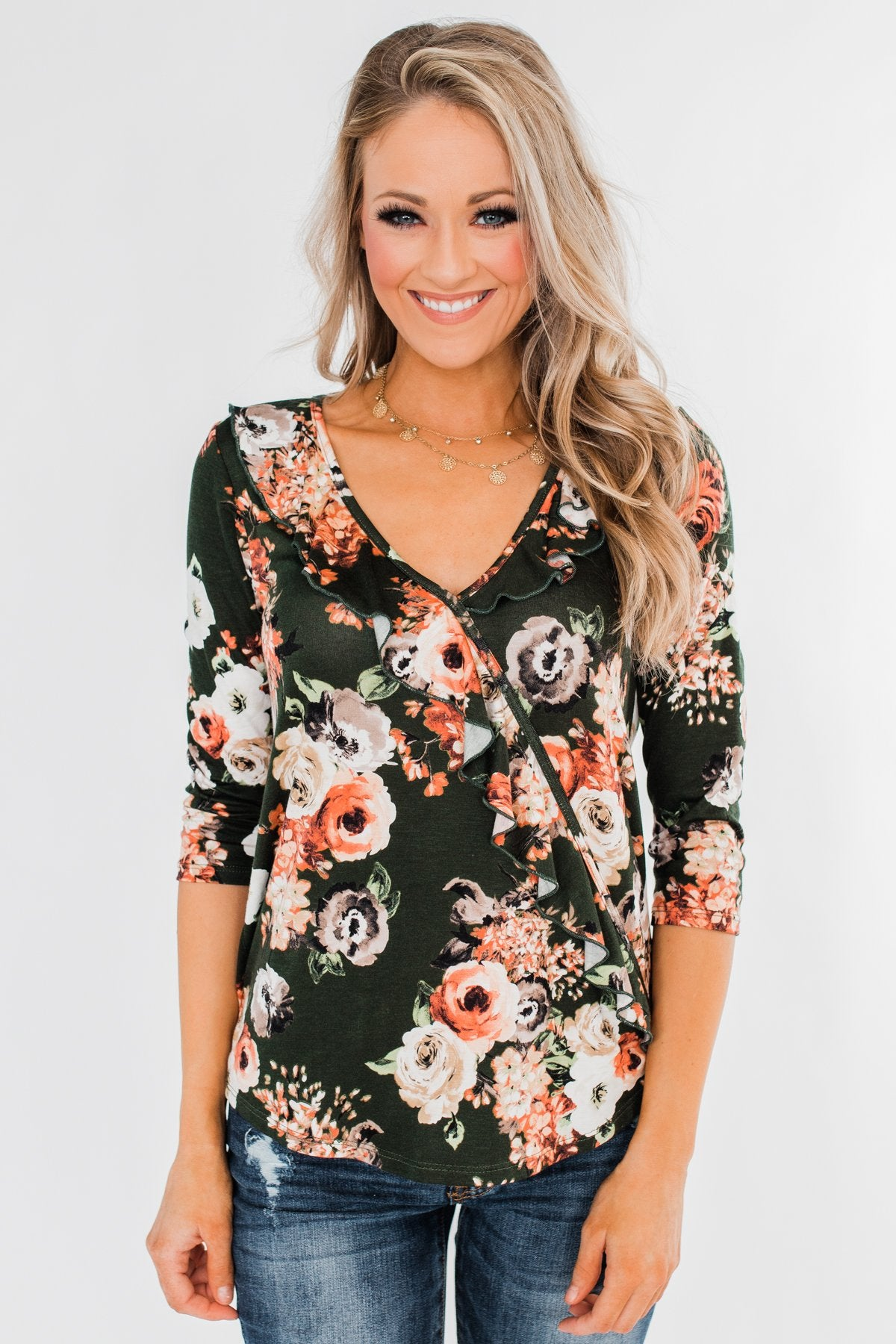 Good As You Floral and Ruffle 3/4 Sleeve Top- Olive