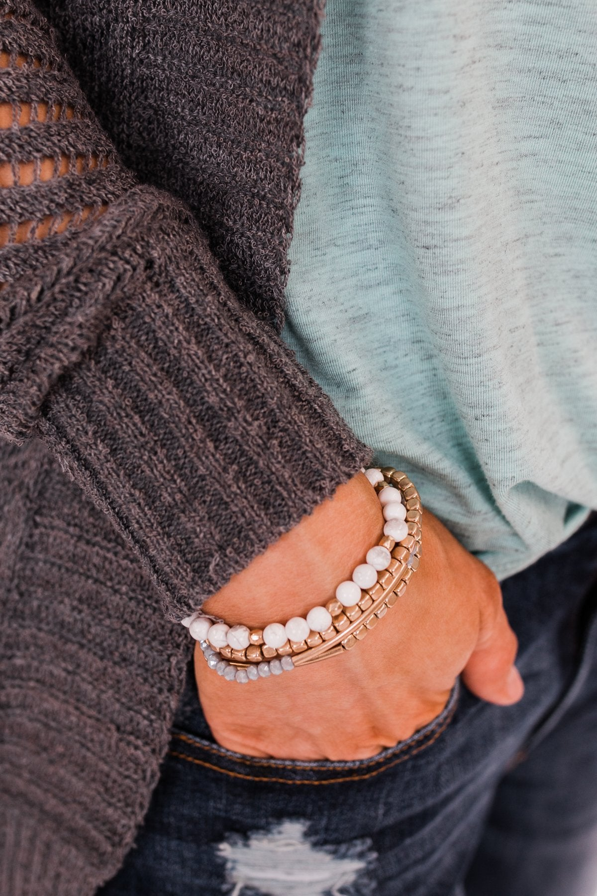 Ideal Beaded Bracelet Set- Grey Tones