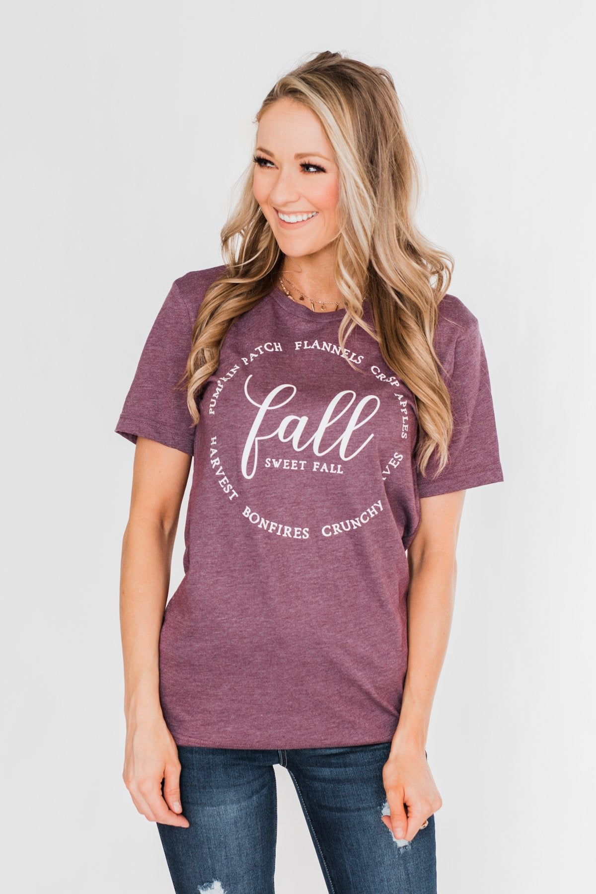"""Fall"" Graphic Tee- Heathered Maroon"