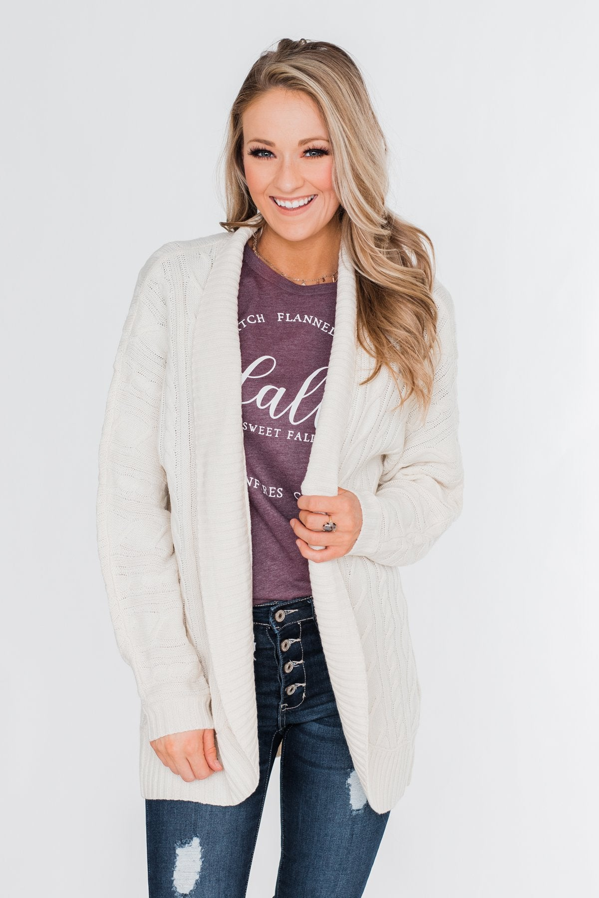 Noticing You Cable Knit Cardigan- Cream