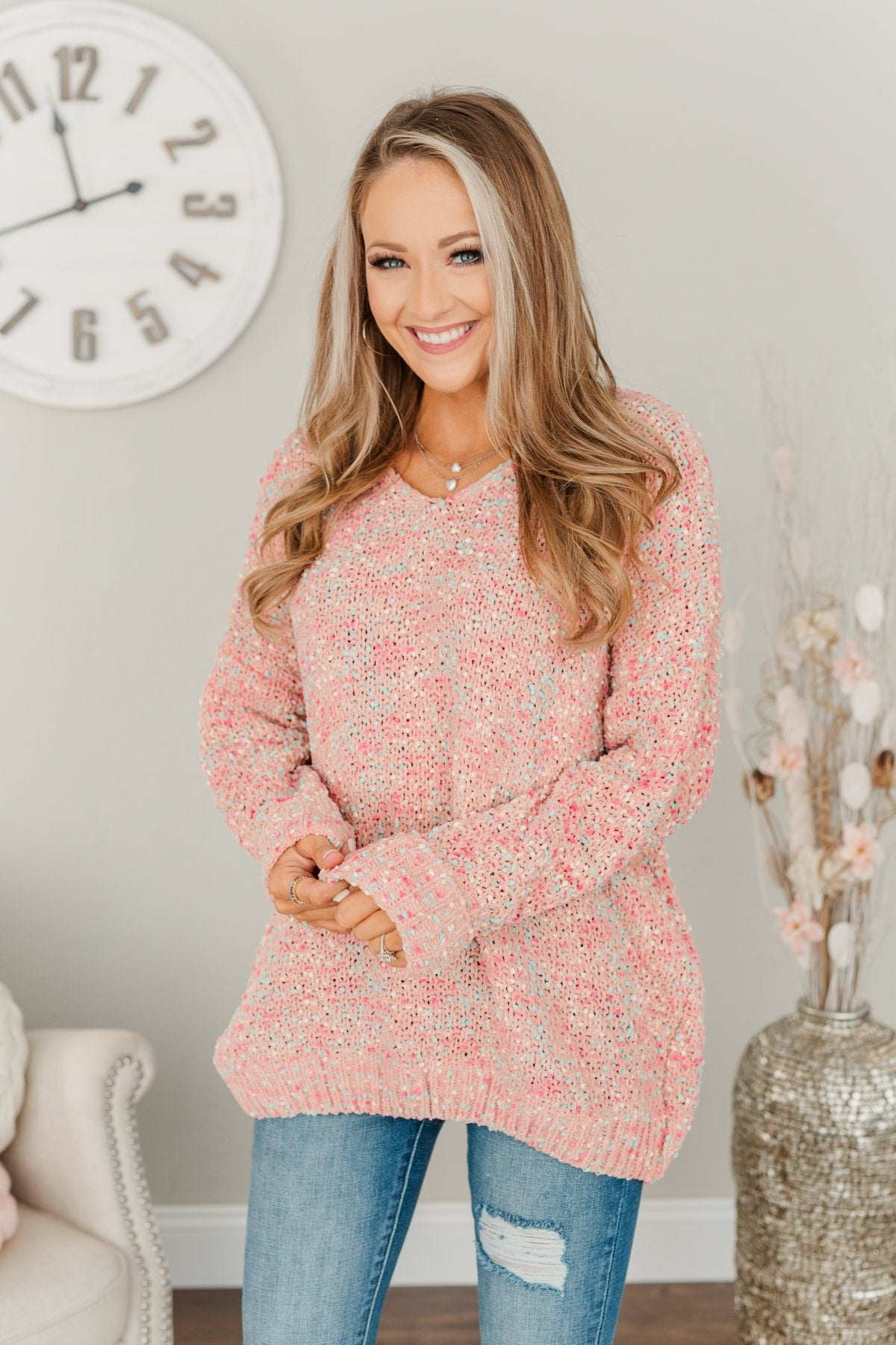 Charming Embrace Chunky Knit Sweater- Peach, Mint Blue & Pink