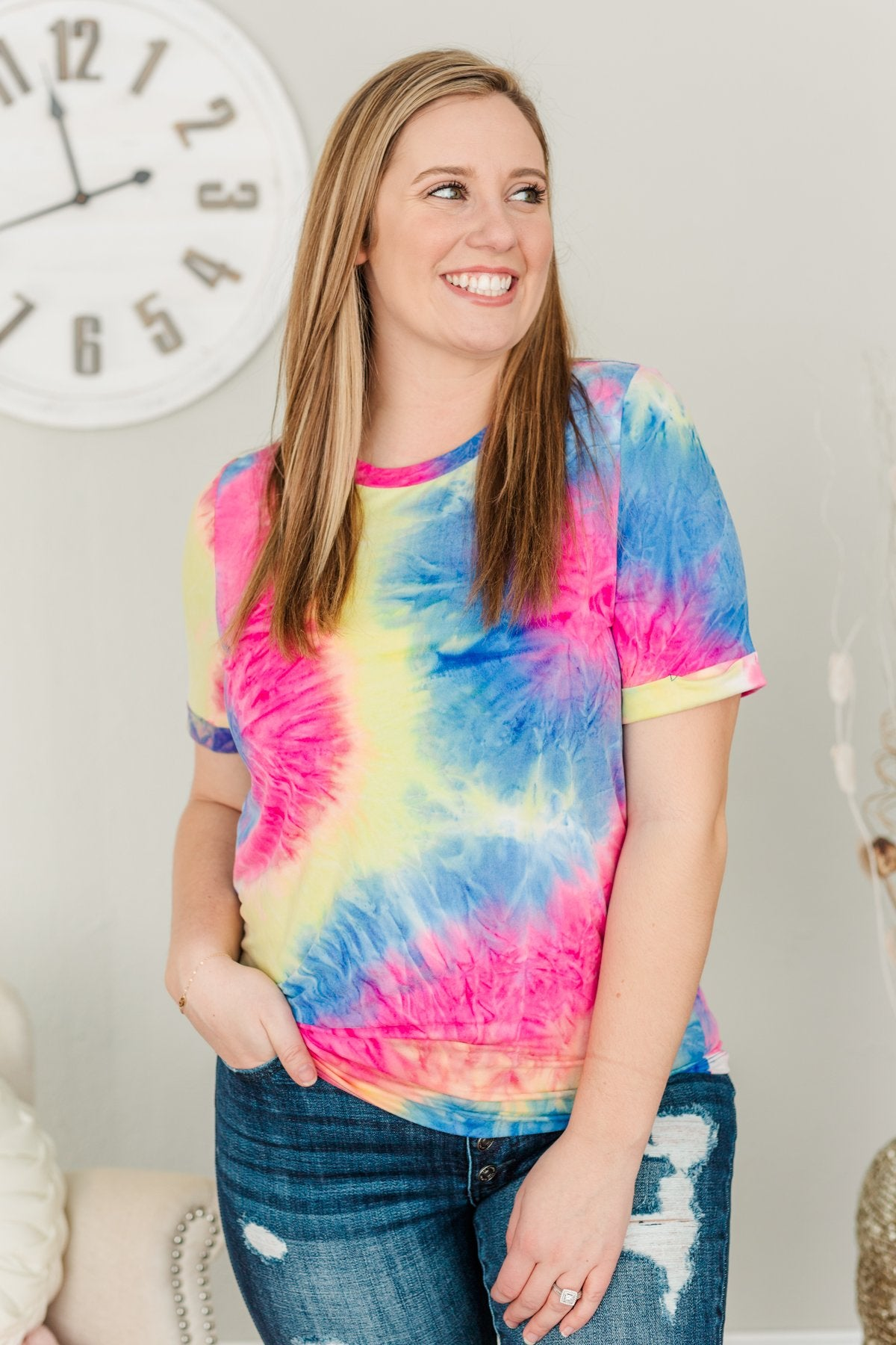 Creating Color Tie-Dye Top- Dark Blue, Yellow & Pink
