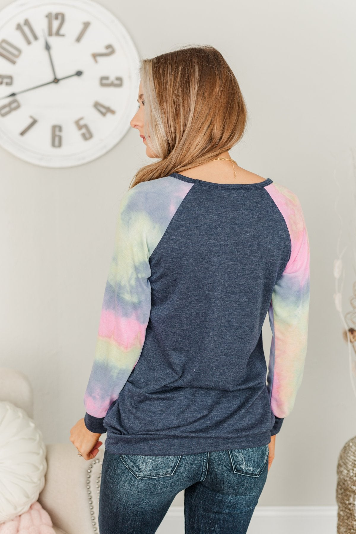 Feel The Sunshine Tie Dye Top- Navy & Multi-Color