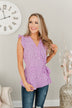 Always Ambitious Spotted Wrap Blouse- Light Purple