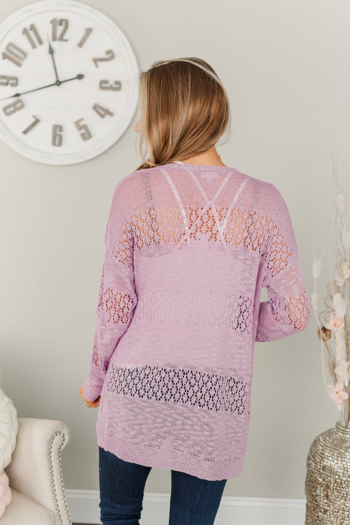 Lovely Life To Live Open Knit Cardigan- Lavender