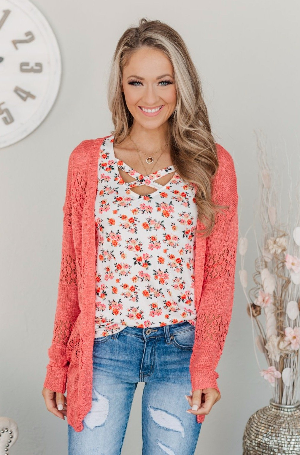 Lovely Life To Live Open Knit Cardigan- Coral