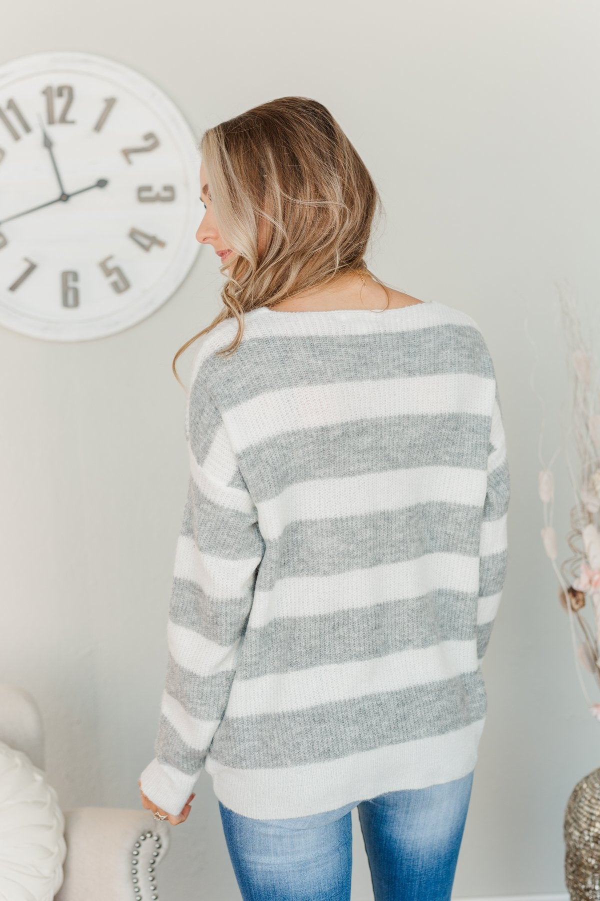 Perfectly Me Knit Sweater- Grey & Off-White