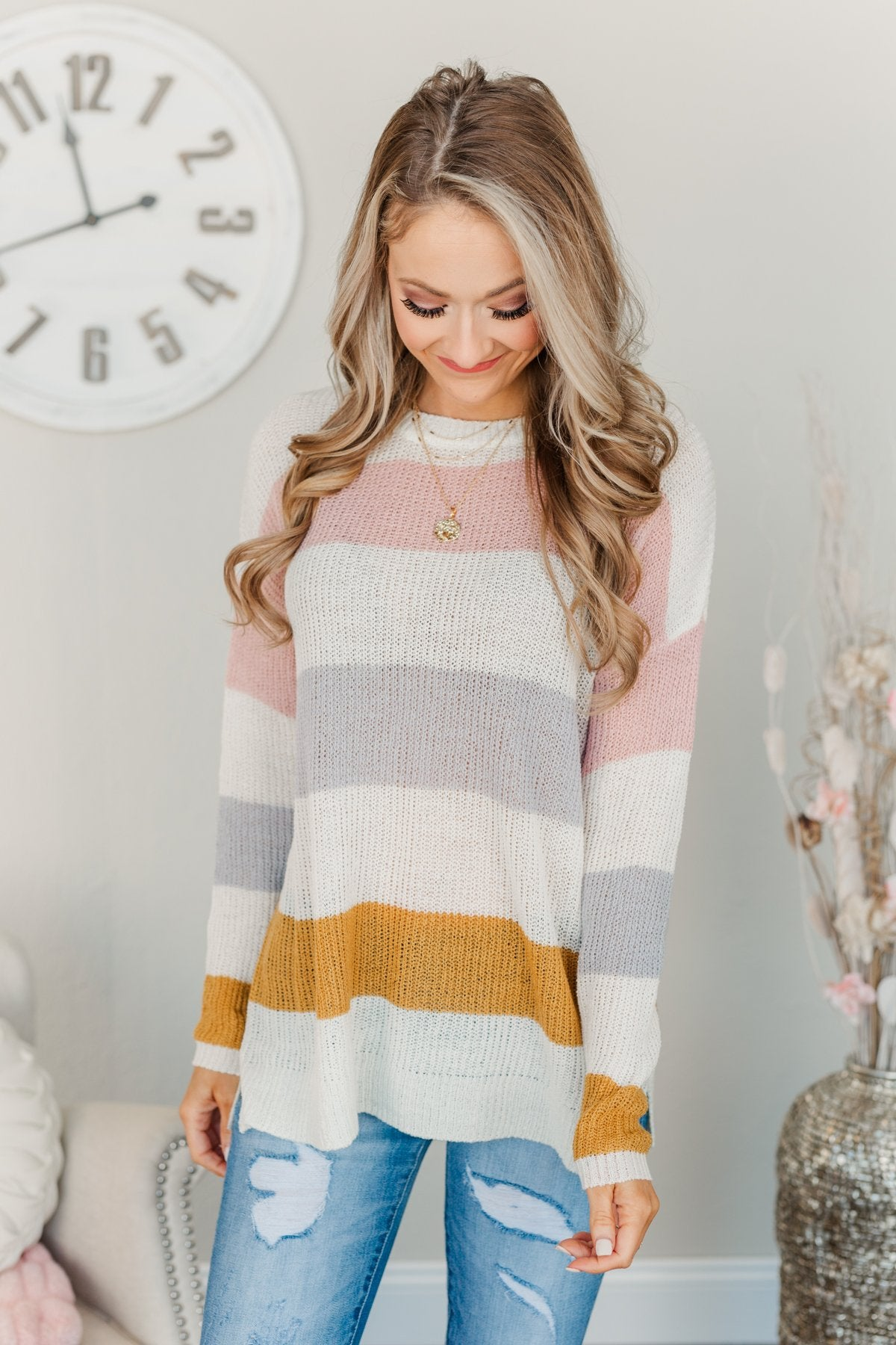 Focus On The Good Knit Sweater- Ivory, Blush, Camel, & Grey