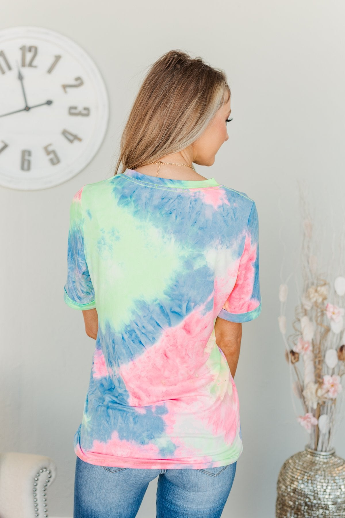 Enjoy The Little Things Tie Dye Top- Neon Yellow, Pink, & Blue