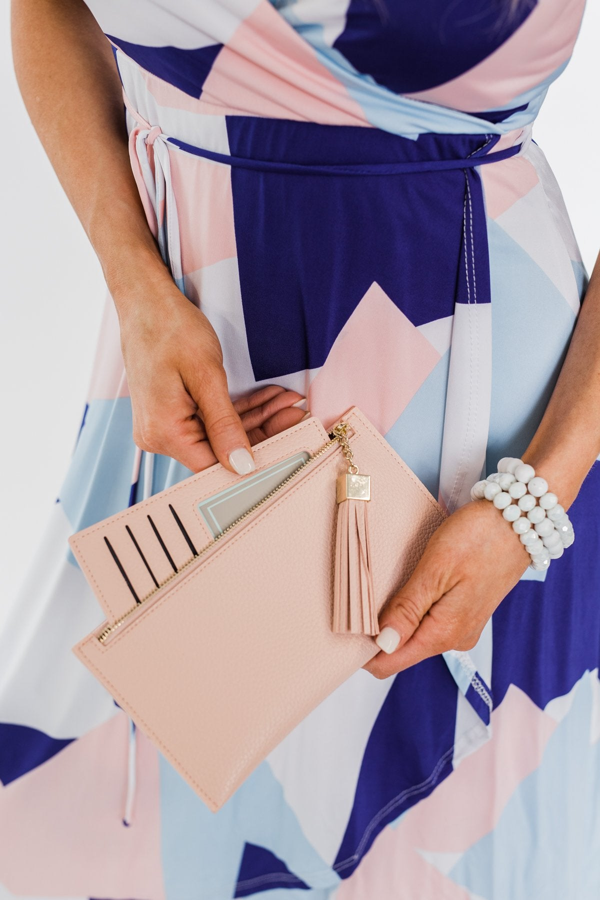 Tassel Clutch- Light Blush