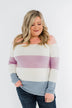 Here She Comes Sweater- Peach, Orchid & Steal Blue